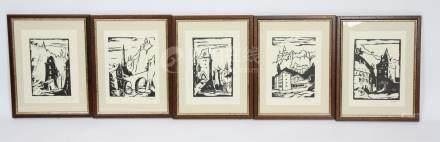 Vues de Luxembourg ville  Ensemble de 5 lithographies…