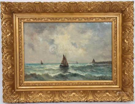 Marine de Jos Meulemans (XIX-XX)  Huile sur…