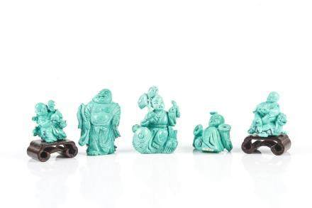GROUP OF 5 CHINESE TURQUOISE CARVINGS