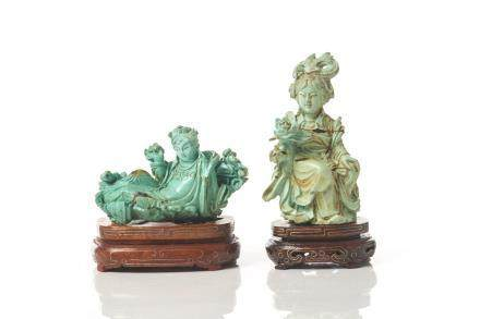 TWO CHINESE TURQUOISE CARVINGS OF LADY