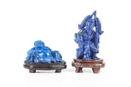 TWO CHINESE LAPIS LAZULI CARVINGS
