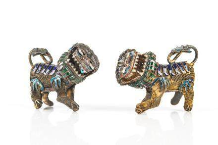 TWO CHINESE FILIGREE SILVER & ENAMELLED FU LIONS