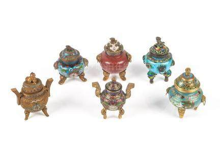 SIX CHINESE CLOISONNE & ENAMELLED CENSERS