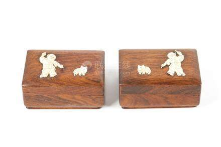 TWO CHINESE HARDWOOD BOXES WITH INLAYS