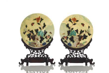 PAIR OF MIXED INLAID CIRCULAR PLAQUES ON STANDS
