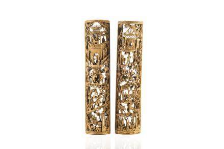 PAIR OF CHINESE GILTWOOD CYLINDRICAL PANELS