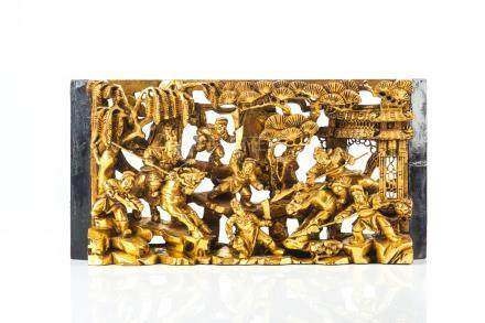 CHINESE CARVED GILT WOOD WARRIOR PANEL