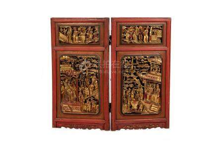 PAIR OF CHINESE LACQUERED AND GILT WINDOW PANELS