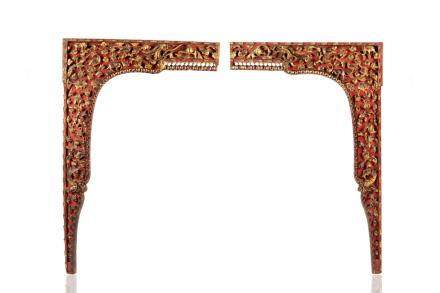 PAIR OF CHINESE LACQUERED GILT WOOD DOOR FRAMES