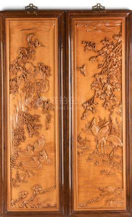 PAIR OF CHINESE WOOD CARVED WALL PANELS