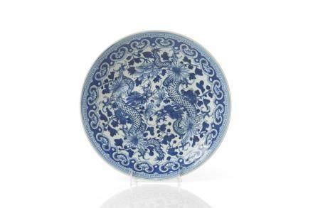CHINESE BLUE & WHITE PORCELAIN DRAGON DISH