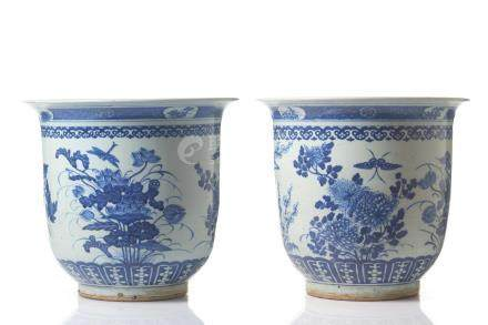 PAIR OF CHINESE BLUE & WHITE PORCELAIN PLANTERS