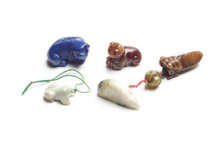 FIVE CHINESE JADE AND STONE CARVINGS