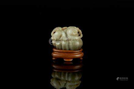 CHINESE JADE CARVED BOY ON MELON GROUP