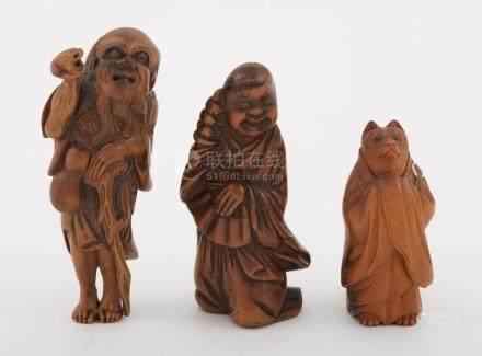 Group of Three Japanese Boxwood Netsuke