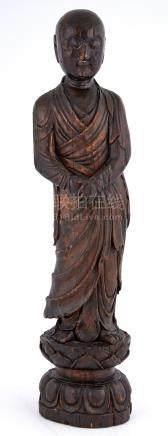 Japanese Carved Wood Figure of Buddha