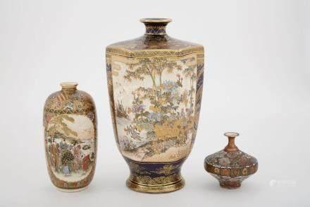 Two Japanese Satsuma Vases; Together with a Japanese Kutani