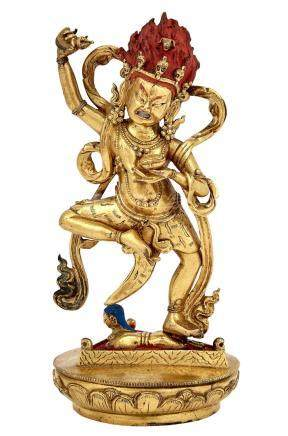 Tibetan Gilt-Bronze Figure of Mahakala
