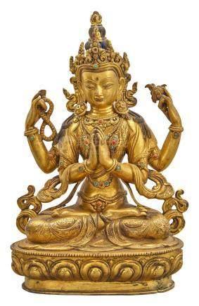 Tibetan Gilt-Bronze Figure of Shadakshari