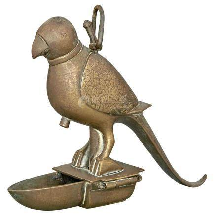 Indian Mughal Style Brass Parrot-Form Oil Lamp
