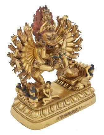 Chinese Gilt-Bronze Figure of Vajrabhairava and Vajra Vetali