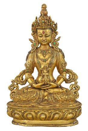Tibetan Gilt-Bronze Figure of Amitayus