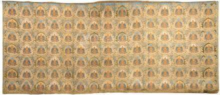 Imperial Tibetan Gold Woven Tapestry Hanging of the 'One-Tho