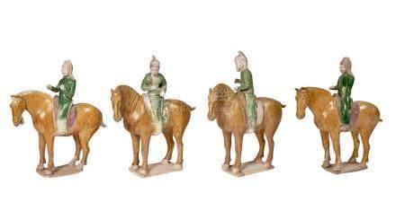 Group of Four Chinese Glazed Pottery Mounted Horses