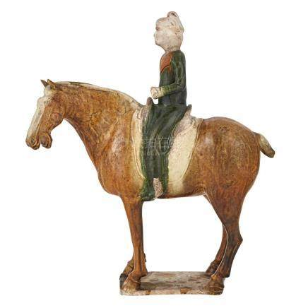Chinese Sancai Glazed Pottery Horse and Rider