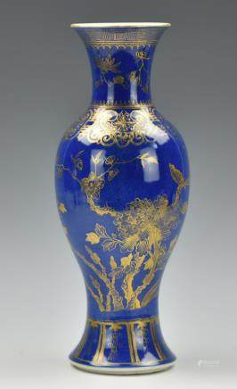 Chinese Blue Glazed Gilt Flower Vase,19th C.