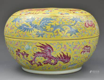 Chinese Yellow Famille Rose Box and Cover,19th C.