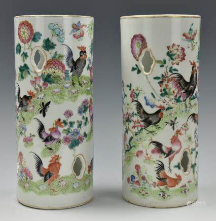 Pair of Famille Rose Rooster Hat Stands , 19th C.