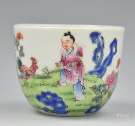 Chinese Famille Rose Chicken Cup,ROC Period