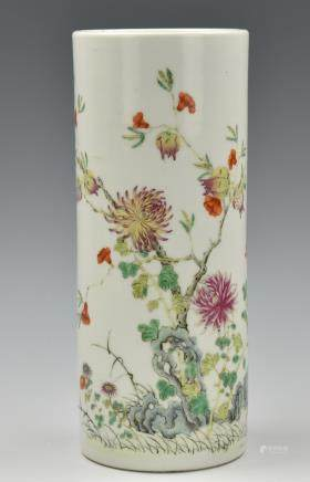 Chinese Famille Rose Hat Stand Vase,19th C.