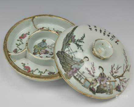 Chinese Qianjiang Porcelain Box & Cover, ROC P.