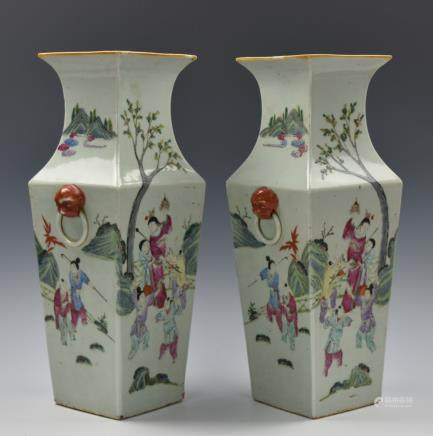 Pair of Chinese Famille Rose Square Vase,19th C.