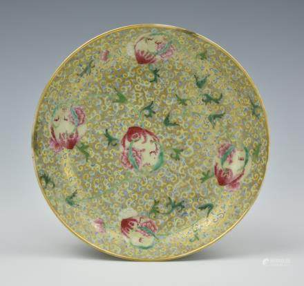 Chinese Famille Rose Peach Plate, Qianlong Period
