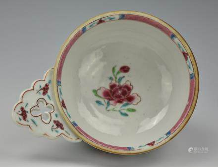 Chinese Famille Rose Bowl w Handle, Yongzheng P.