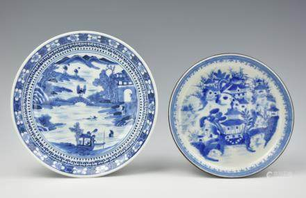 Two Chinese Blue and White Plates,18th C.