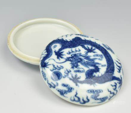 Chinese Blue & White Ink Box & Cover,19-20th C.