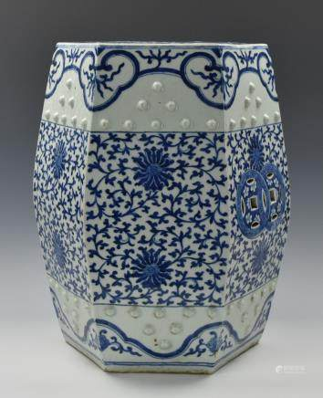 Chinese B & W Hexagonal Porcelain Stool,19th C.