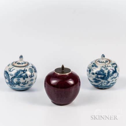 Three Miniature Porcelain Covered Jarlets