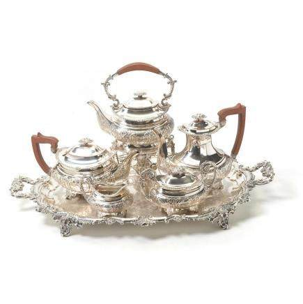 English Silver Plated Six Piece Tea & Coffee Service