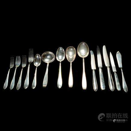 Set of Continental 800 Silver Flatware.