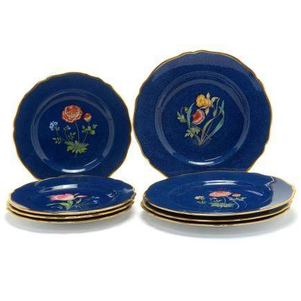 Ten Spode Blue Ground Porcelain Dinner Plates with