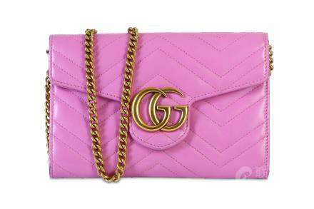 Gucci Pink Marmont Medium Clutch