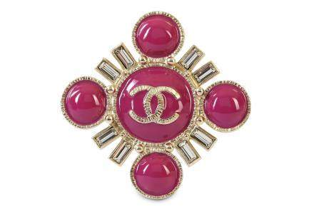 Chanel Pink Enamel Brooch