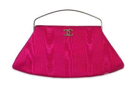 Chanel Fuchsia Silk Frame Bag