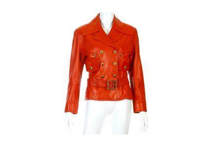 Chanel Runway Post Box Red Belted Leather Jacket
