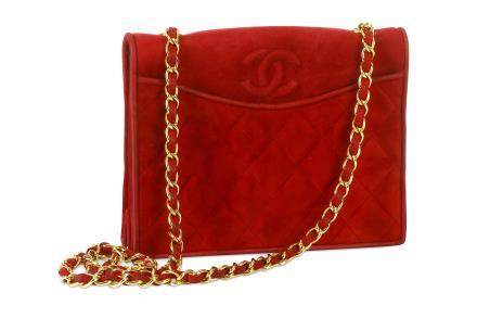 Chanel Crimson Suede Shoulder Bag